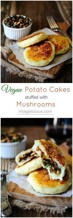 Vegan Potato Cakes stuffed with Mushrooms - Delicious way to use leftover mashed…