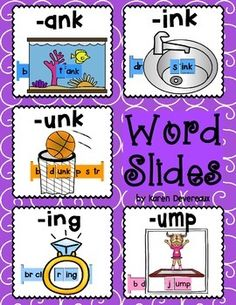 5 Word Slides for word families: ank, ink, unk, ing, umpGraphics: tank, sink, dunk, ring, jumpWord Family Words:bank, blank, prank, rank, sank, tank, yankdrink, link, mink, pink, rink, sink, stink, thinkbunk, dunk, hunk, junk, punk, sunk, trunkbring, cling, ding, king, ring, sing, wingbump, dump, hump, jump, lump, pump, rump, thumpGreat literacy center activity!Students slide the letter bar through the graphic to make words. 2 Word Slides per family:* 1 in color and ready to cut (I put these…