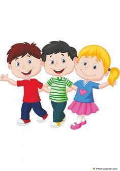 Happy young children cartoon vector image on - Caarton Cartoon Boy, Cartoon Pics, Cute Cartoon, Children Cartoon, Children Clipart, Baby Images, Clip Art, Kids Reading, Three Kids