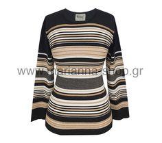Μπλούζα πλεκτη ριγέ με ασημοκλωστή. Έχει χαμηλή λαιμόκοψη, και μακριά μανίκια. Μήκος απο τον ώμο 63εκ. μήκος μανικιού 54εκ. Μπορεί να συνδυαστεί με τη ζακέτα με οδ. 4030.50%merinos-50%acr.Ελληνική ραφή.  #knitwear #jumper #womansblouse #plussize #mariannaclothing #rinasknitwear Jumpers, Knitwear, Blouses, Sweaters, Shopping, Tops, Women, Fashion, Moda