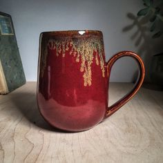 2x Deep Firebrick over 2x Textured Amber Brown with Ancient Jasper Drip on buff stoneware fired to cone 6. By Amanda Joy Wells