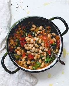 One Pot Tomato Collard and White Bean Stew - Recipes - Sprouts Farmers Market Sprout Recipes, Bean Recipes, Turkey Recipes, Vegetable Recipes, Clean Eating, Healthy Eating, Bean Stew, White Bean, Vegan Dishes