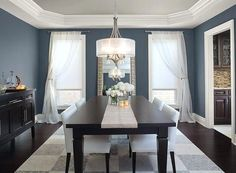 Potential whole house neutral shale is on this ceiling Blue Dining Room Ideas - Glamorous Gray-Blue Dining Room - Paint Color Schemes Benjamin Moore Normandy paint color Blue Dining Room Paint, Dining Room Colors, Dining Room Walls, Living Room Paint, Dining Room Design, Dinning Room Paint Ideas, Bedroom Colors, Room Color Schemes, Dining Room Inspiration