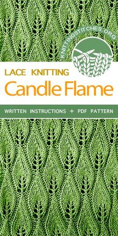 Knitting Stitches -- LEARN TO KNIT Candle Flame lace stitch #learntoknit #knittingstitches