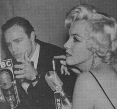 Marilyn and Marlon Brando in an interview with NBC at the Rose Tattoo premiere, 1955.