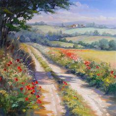 Künstlerin Ute Herrmann - Gemälde Öl auf Leinwand 80x80 cm. Feldweg in der Provence mit Mohnblumen