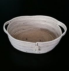 Oval Cotton Rope Basket, Rope Bowl, Rope Basket by PearlsHomespun on Etsy
