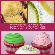 Yellow Cake Mix + Lemon Lime Soda = Soda Can Cupcakes (and other 2 ingredient recipes) Cake Mix Recipes, Cupcake Recipes, Cupcake Cakes, Dessert Recipes, Easy Recipes, Cup Cakes, Baby Cakes, Just Desserts, Delicious Desserts