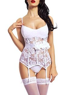 824f5e3711 BeLuring Womens Bridal Wedding Molded Cup Lace Bustier Lingerie White      Check out this great product.