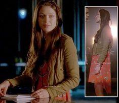 Marley's orange dipped hem dress and cropped moto jacket on Glee http://wornontv.net/11131/