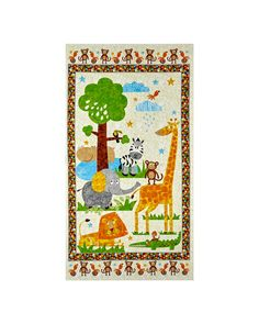 """Safari Expedition 23.5"""" Panel Of Scenic Safari Animals Ivory from @fabricdotcom  From Blank Quilting, this cotton print fabric is perfect for quilting, apparel, and home decor accents. Colors include shades of beige, tan, brown, green, yellow, and blue. Panel measures 23.5"""" x 44"""""""