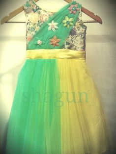 lemon yellow kids (girls) floral designer gown. for the your little angle. only 3000/-.. so book now . wtsapp number +918447596498