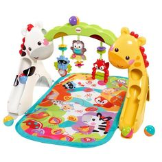 The Fisher-Price Newborn To Toddler Playgym has a fun animal theme and over 12 toys and activities. www.rightstart.com