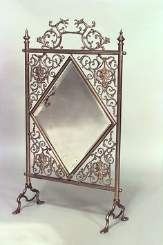 victorian fireplace screens | French Victorian fireplace accessory fire screen brass