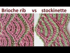 Brioche stockinette, two-color brioche stitch knitting pattern (vs brioche rib) + free chart Knitting Videos, Knitting Charts, Knitting Stitches, Knitting Projects, Stockinette, Lana, Knitting Patterns, Knit Crochet, Knits