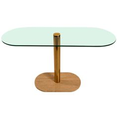 Oval Glass Top Console Table | 1stdibs.com