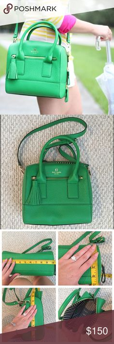 """Kelly Green Crossbody Satchel In perfect condition   measurements photographed   one external zipper, interior zipper + 2 interior pockets   strap measures 46"""" long in total kate spade Bags Crossbody Bags"""