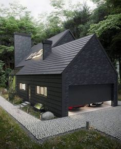 20 Modern Black House Exterior Design Ideas For Your Inspiration Modern House Exterior black design exterior house ideas Inspiration modern House Exterior Color Schemes, Black House Exterior, Rustic Exterior, Modern Exterior, Exterior Colors, House Exterior Design, Grey Exterior, Roof Design, Exterior Paint