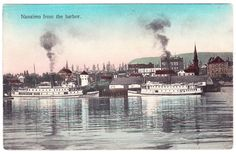 BC – NANAIMO, Steamers Joan and City of Nanaimo c.1900s PPC Emily Carr, Canadian Pacific Railway, Hudson Bay, Steamers, Boat Plans, Vancouver Island, History Facts, British Columbia, Plays