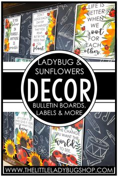 Get ready for back to school with the Ladybug and Sunflower classroom decor theme! This editable set is beautifully unique and has everything you need to decorate your classroom with a clean, cohesive look. The perfect DIY bundle for any elementary classroom, including posters, name plates, alphabet posters, teacher notebook, organization labels, bulletin board decor, and more! #thelittleladybugshop