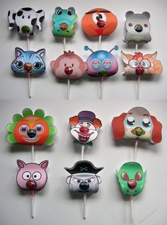 Chupa Chups Animal and Character lolly holders  set of 14 Print n Cut sil studio by Tina Fallon these utilise the print n cut funtion in the silhouette studio software for the studio downloadthey are pre sized to fit a standard Chupa Chups lolly if you use the mini size lolly you will need to re-scale them smaller