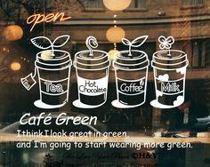 Cake Coffee Cafe TEA Shop Window Sign Stickers Wall Decal Vinyl Decor ART Mural | eBay