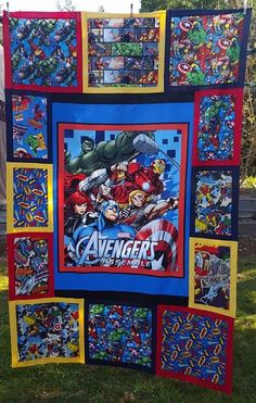 Avengers Quilt top I made for a Children's cancer auction.