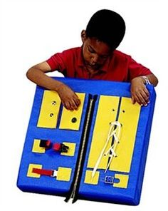 Don't worry, with the Developmental Panel Toy learning is a snap! Snaps, buckles, buttons, and laces all on one colorful learning board for your child to explore. Teaches shoe tying, shirt buttoning, snapping, belt buckling, and more! Never get discouraged trying to unbutton pants or re-tying shoes again!@toysatsensoryedge #finemotor   http://www.sensoryedge.com/depabychfa.html