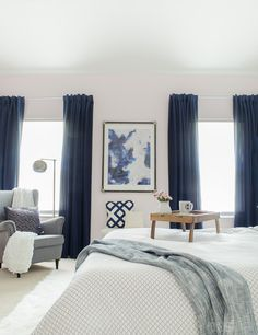 Gorgeous Master Bedroom With Dramatic Navy Drapes. Itu0027s So Glam And Cozy At  The Same Time.