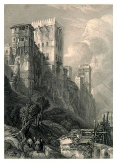 Torre De Comares 1832 David Roberts Acrylic Print by Roberts David. All acrylic prints are professionally printed, packaged, and shipped within 3 - 4 business days and delivered ready-to-hang on your wall. Art Et Architecture, Historical Architecture, Tree Drawings Pencil, Art Drawings, Fantasy Landscape, Fantasy Art, Castle Painting, Black And White Painting, Art Graphique