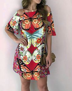 US$ 25.99 - Casual Off Shoulder Sexy Printed Mini Dress - m.narachic.com Casual Dresses, Fashion Dresses, Summer Dresses, Floryday Vestidos, New Arrival Dress, Types Of Dresses, Buy Dress, Dress Brands, Party Dress