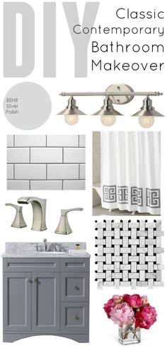 Classic Contemporary Bathroom Makeover plan and progress - This is a total DIY renovation! www.classyclutter.net