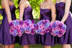 Purple brides maid dresses and matching color bouquets