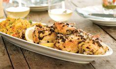 Lemon Herbed Chicken with yogurt dill sauce.  Mix this recipe with the Lemon Dill Chicken recipe.