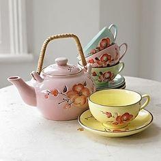 Pink Flower Teapot w/ Teacups