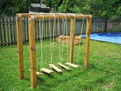 natural playground swinging bridge
