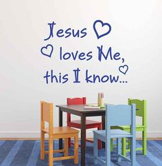 Jesus Loves Me this I Know.    Decal in photo may appear larger in order to show detail.      Size: Roughly 15.5 inches tall by 21 inches long. Decal