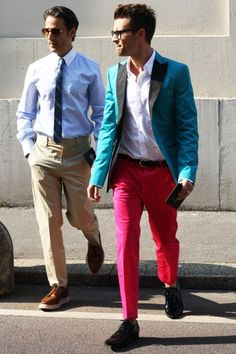 blue coat and pink pants
