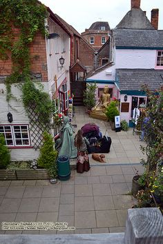 Glastonbury  A courtyard area behind some shops, and the Blue Note Cafe off the High Street