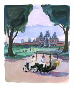 """Angkor, Cambodia - from """"Departures Magazine"""" © Jean-Philippe Delhomme Mural Painting, Painting & Drawing, Paintings, Andy Warhol Museum, Illustration Sketches, Fashion Illustrations, Collage Drawing, Jean Philippe, Small Art"""