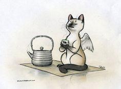 """Caffeine Cat Green Tea"" Illustration by RobtheDoodler. Coffee Illustration, Illustration Art, Food Illustrations, Cute Cats Photos, Cat Allergies, Great Paintings, Art Station, Tea Art, Grumpy Cat"
