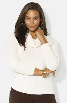Lauren Ralph Lauren Cowl Neck Ribbed Sweater (Plus Size) available at #Nordstrom