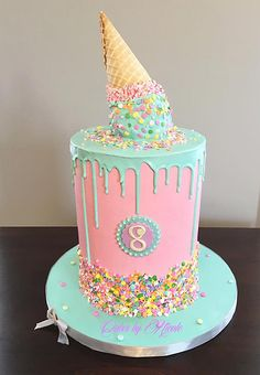 Melted Ice Cream Cone Cake by Nicole Peterson of Cakes by Nicole selber machen ice cream cream cream cake cream design cream desserts cream recipes Ice Cream Cone Cake, Ice Cream Birthday Cake, Ice Cream Theme, Ice Cream Party, Melted Ice Cream Cake Recipe, Melting Ice Cream Cake, Cake Cone, 9th Birthday Cake, Ice Cream Cupcakes