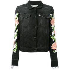Off-White rose embroidered denim jacket featuring polyvore, women's fashion, clothing, outerwear, jackets, black, denim jacket, long sleeve jean jacket, embroidered jacket, embroidered jean jacket and embroidery jackets