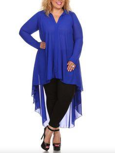 44131328712 Beatrice Hi-lo Chiffon Plus Size Tunic in Cobalt Blue Plus Size Clothing  Online