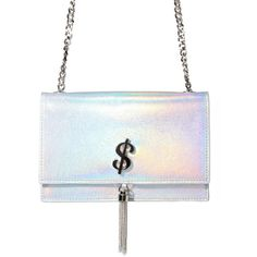 Holographic Dollar Sign Shoulder Bag Purse ($35) ❤ liked on Polyvore featuring bags, handbags, shoulder bags, chain handle handbags, shoulder hand bags, man bag, shoulder handbags and white shoulder handbags