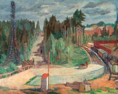 Forest Landscape with Railway Station  -  Tove Jansson  1940. #art #finnish #arthistory #landscape