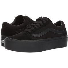 Vans Old Skool Platform (Black/Black) Skate Shoes (€55) ❤ liked on Polyvore featuring shoes, sneakers, pointy sneakers, platform shoes, toe cap skate shoes, black trainers and black platform shoes