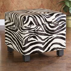 A zebra-striped ottoman adds spunk to your space. #homefurnishings #Kohls