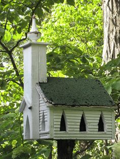 Welcome to our birdie paradise. This artisan made house greets you as you walk up to the entrance door. Every year the chickadee's make ...